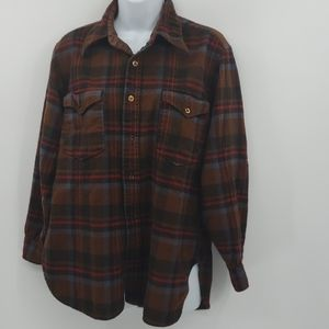 Pendleton 17 1/2 brown plaid shirt wool vintage